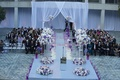 Wedding ceremony with grey and purple color palette