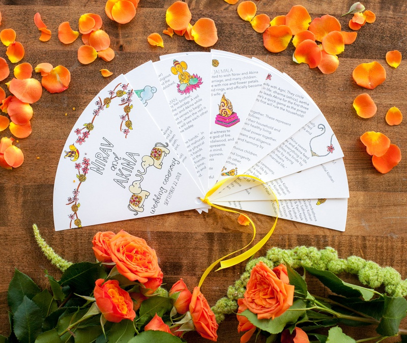 wedding ceremony program with hand drawn details illustrations traditions
