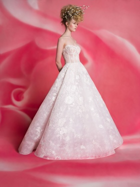 Isabelle Armstrong Spring 2019 collection strapless lace ball gown with corset