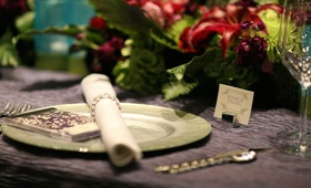 Purple silk linen with light green charger plate