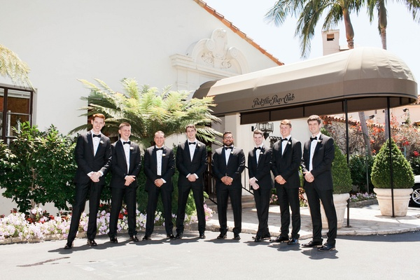 groom and groomsmen outside bel-air bay club in classic tuxes