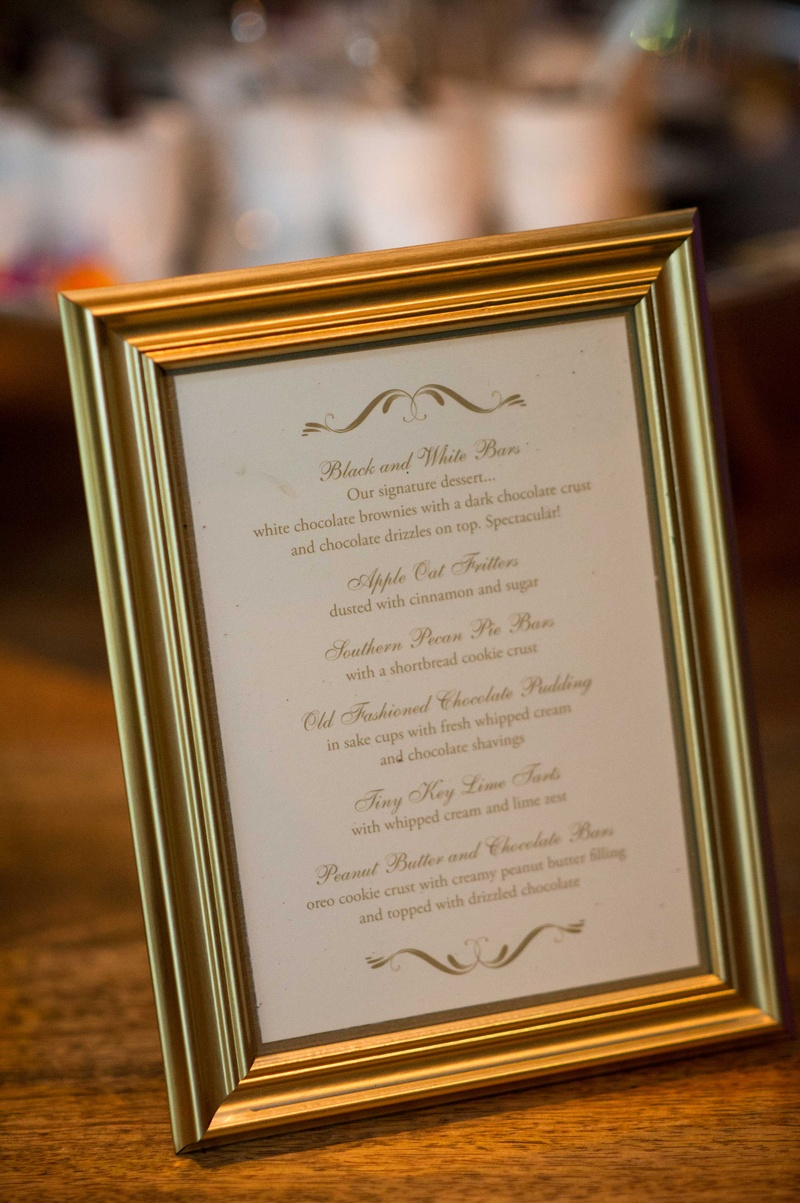 Gold frame with white and gold menu dessert ideas for Southern wedding