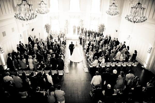 Wedding ceremony in a hall of the Peninsula Gold & Country Club, San Mateo, CA