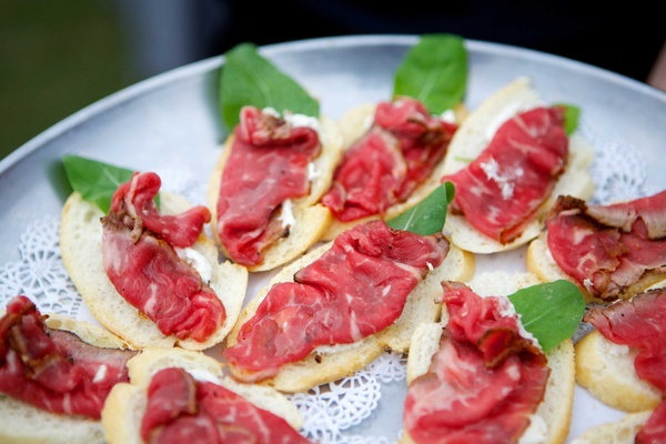 Beef Carpaccio Toast Points Horseradish serving platter coastal appetizer raw beef wedding food
