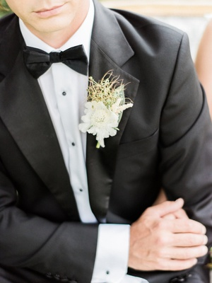 bohemian inspired boutonniere