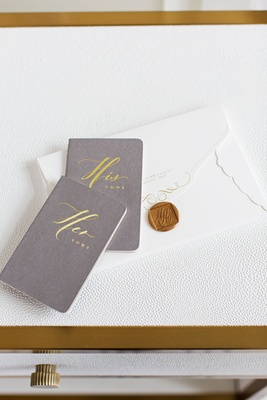 Grey and gold his and her vows books with envelope from wedding invitation gold wax seal