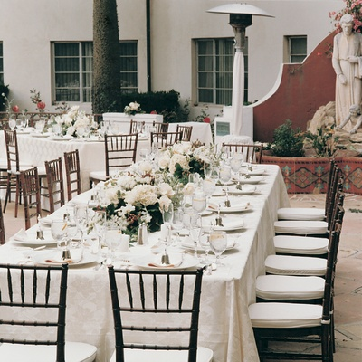 Rectangle tables and low flower centerpieces