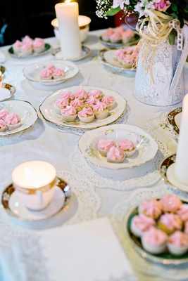 tea and cakes english british wedding ceremony england cups pastries pink baked lace doilies china
