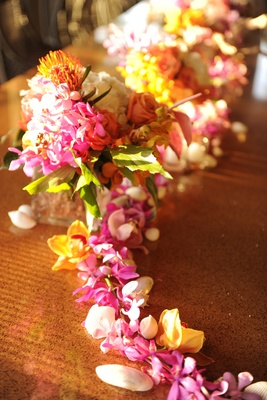 Hawaiian lei and seashell centerpiece