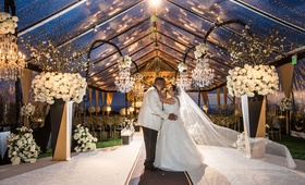 Wedding ceremony tent original runner company aisle runner clear tent flower chandelier twilight