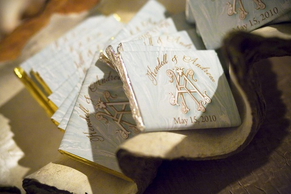 Wedding chocolate bars with couple monogram