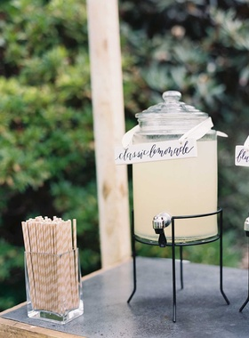 Wedding lemonade stand cocktail hour classic lemonade calligraphy stripe straws