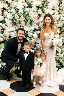detroit lions taylor decker with wife bryn toyama at wedding, ring bearer in tux, flower girl tutu