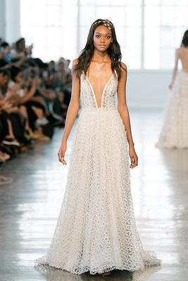 4b99b1fc Berta Fall 2018 wedding dress plunging neckline bridal gown sheath skirt  sleeveless