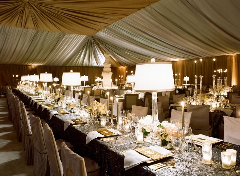 Silver Sequin Table Linen Under Metallic Gold Tent Wedding