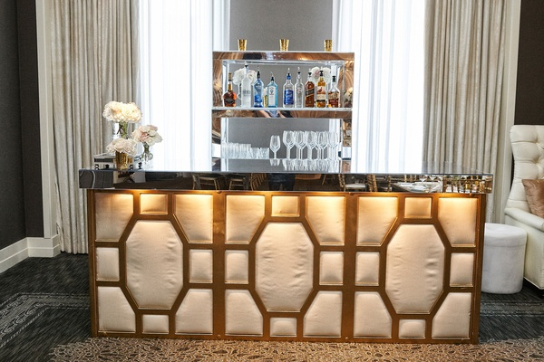 mirror topped bar with art deco detailing