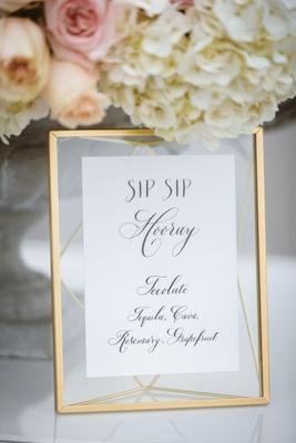 White menu calligraphy sip sip hooray wedding ideas calligraphy gold mirror translucent mat