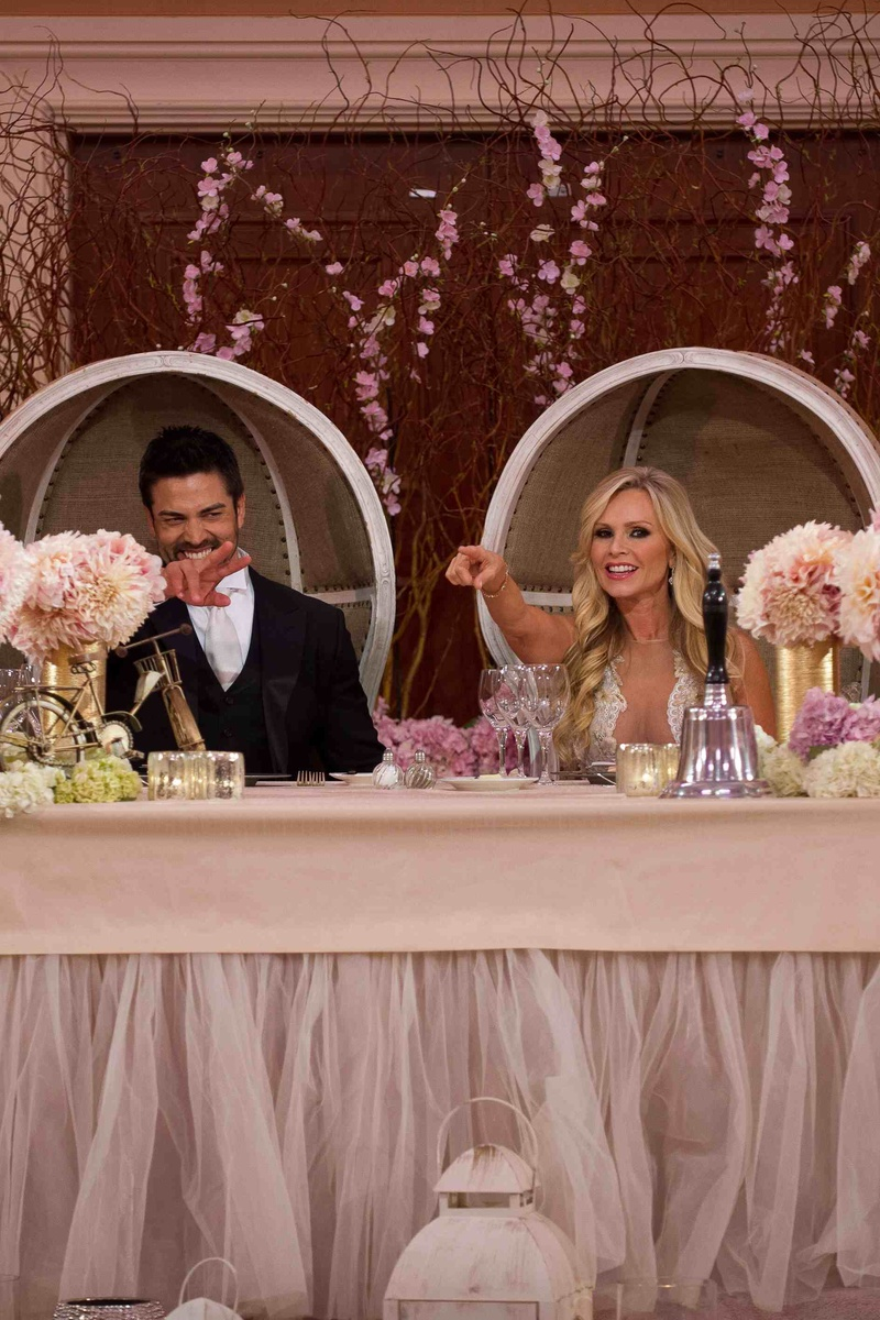 backyard wedding venues in orange county ca%0A     Tamra Barney and Eddie Judge in dome chairs at reception