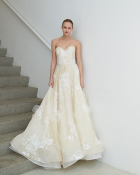 Francesca Miranda Spring 2019 collection organza strapless ball gown with feathers