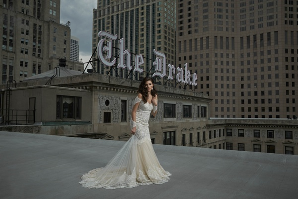 This iconic Chicago rooftop was the perfect backdrop for the amazing Michal Medina dress.