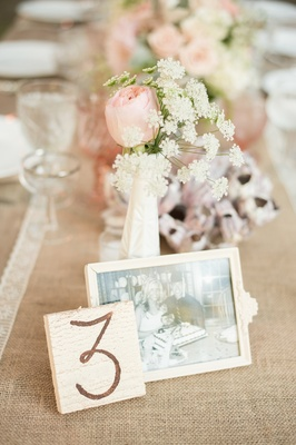 Framed photo of couple on burlap reception table