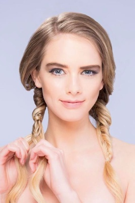 Part Your Hair In Two Sections To Create Pigtail Braids Fishtail On