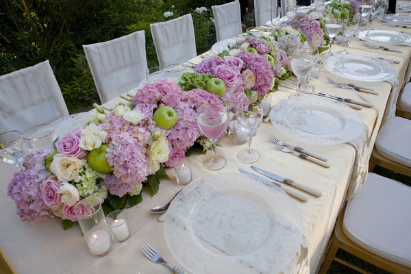 Fresh fruit design how to incorporate fruit into wedding dcor green apple pink hydrangea wedding table runner junglespirit Image collections