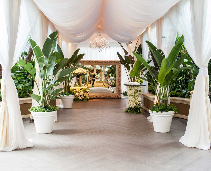Wedding walkway gold mirror with hashtag, tropical leaves, white drapery