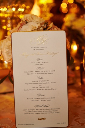 Wedding reception black tie menu gold border and monogram three courses plus dessert wedding cake