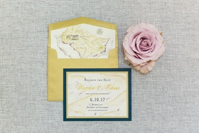 wedding invitation suite reserve the date card save the date gold navy illustration watercolor