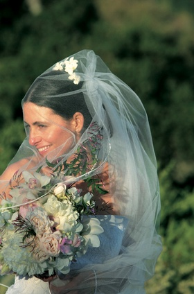 Bride holding bouquet with veil covering face