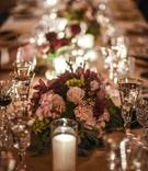 low floral centerpieces with garden roses hydrangeas, dahlias, olive, eucalyptus