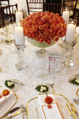 Wedding reception tulip flower centerpieces in bowl