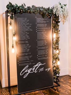 wedding reception seating chart garland of greenery lightbulb vintage style edison bulb