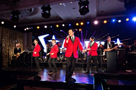 fifty wedding anniversary party las vegas style entertainment stage the four seasons tribute act red