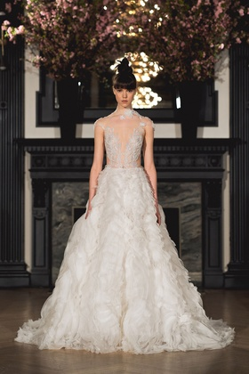 Ines Di Santo Spring 2019 collection short sleeve ball gown with dropped waist and embroidery