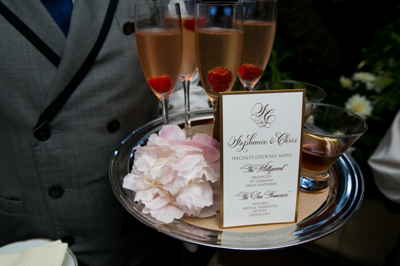 Tray-passed whisky and champagne signature wedding cocktails
