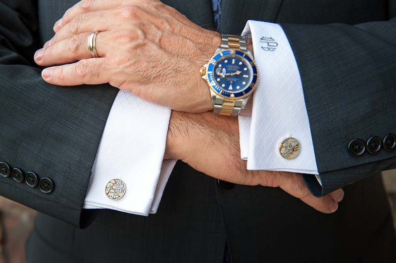 Groom wedding attire map cuff links, blue and gold watch, monogram cuff