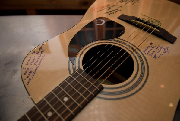 Wedding guest signatures on acoustic guitar