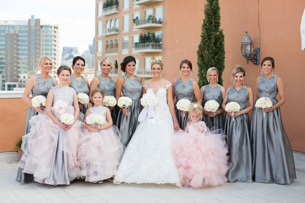 71c7a144def ... Grey high neck bridesmaid dresses pleated skirt white bouquets pink  flower girl and junior maids ...