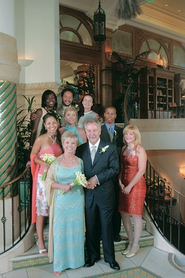 Bride and groom with guests at Casa Del Mar hotel