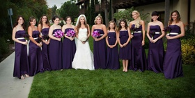Bride with bridesmaids in long purple dresses on hotel lawn