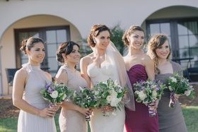 Bridesmaid dresses in differing styles and colors