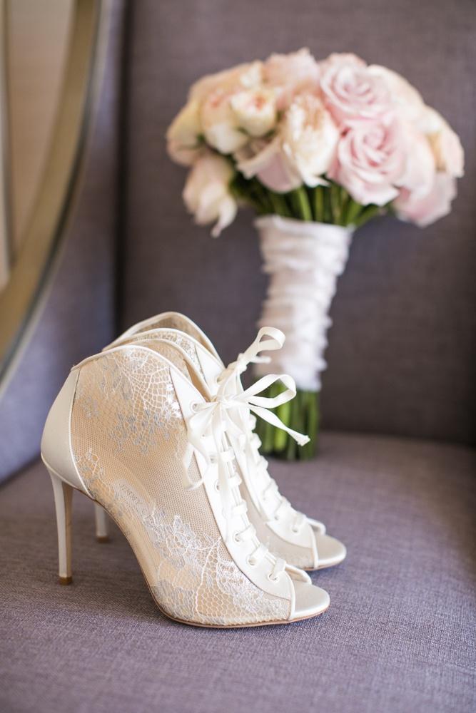 Bride's lace-up booties peep toe wedding heels shoes ivory design pink bouquet