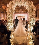 the plaza wedding ceremony flower arch mirror aisle jewish wedding ceremony
