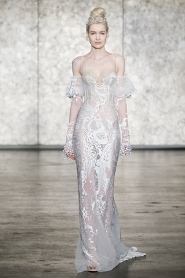 Inbal Dror Fall 2018 Spaghetti strap fitted tattoo embroidered sheath with removable puff sleeves