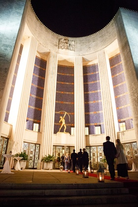 Wedding ceremony and reception at The Hall of State at Fair Park in Dallas, Texas Art Deco historic