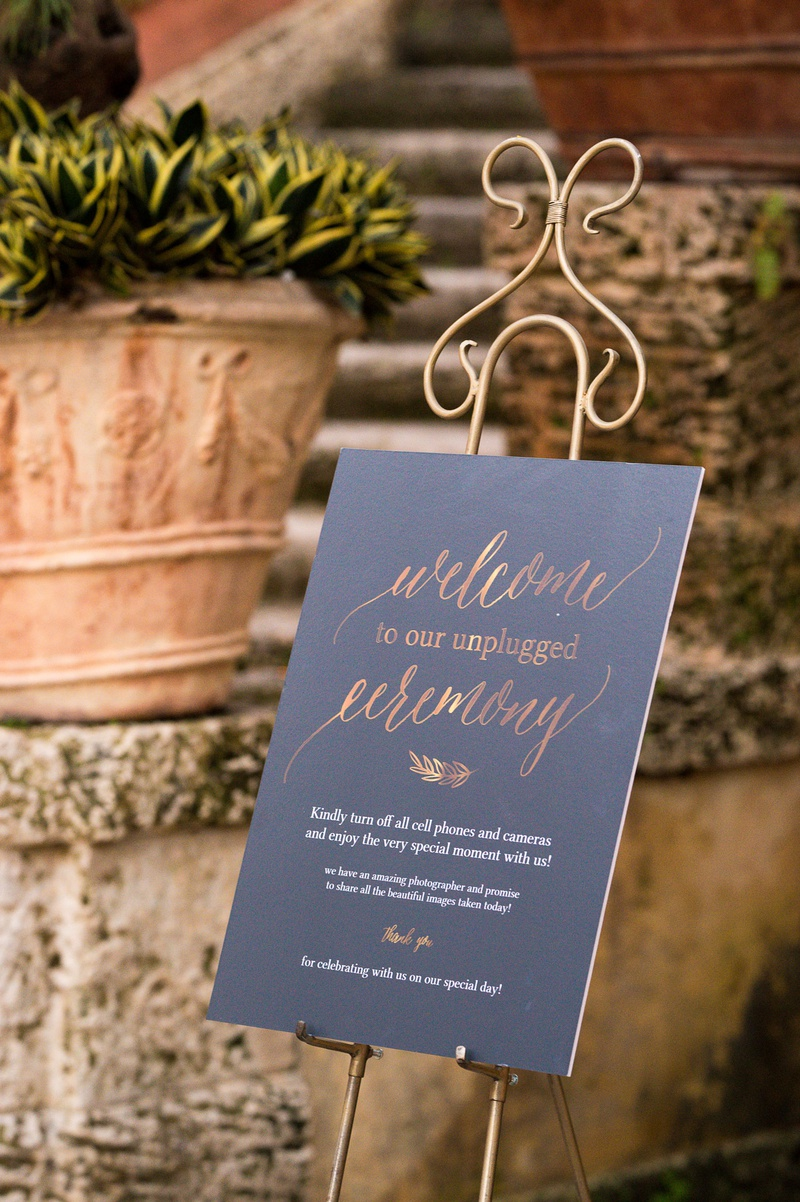 wedding signage, unplugged ceremony sign, how to have an unplugged wedding