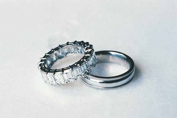 Platinum men's band and wedding ring with many diamonds