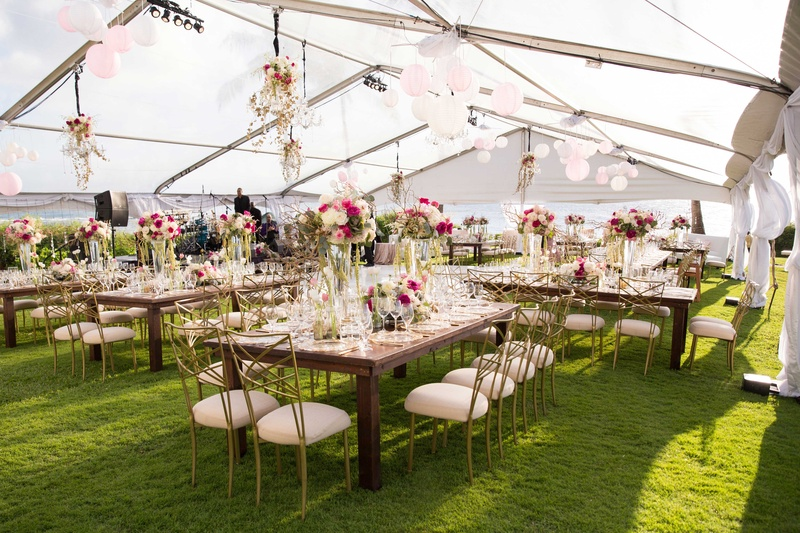 Wedding reception in tent at Montage Kapalua Bay with pink flowers chandeliers paper lanterns grass & Reception Décor Photos - Tent Wedding at Montage Kapalua Bay ...